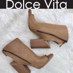 Dolce Vita Peep Toe Open Heel Tan Bootie sz 6